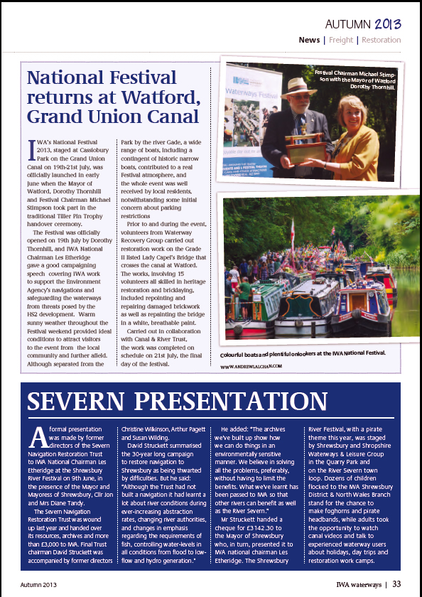 Waterways magazine Autumn 2013