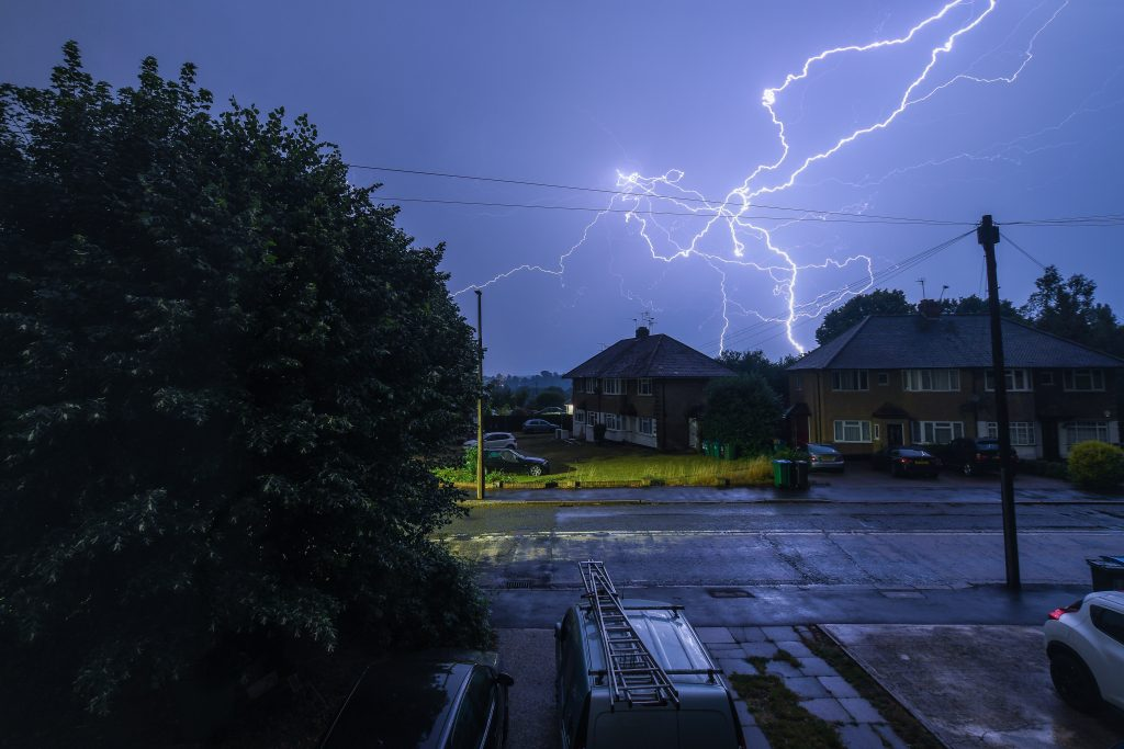 Lightening on a hot summers day