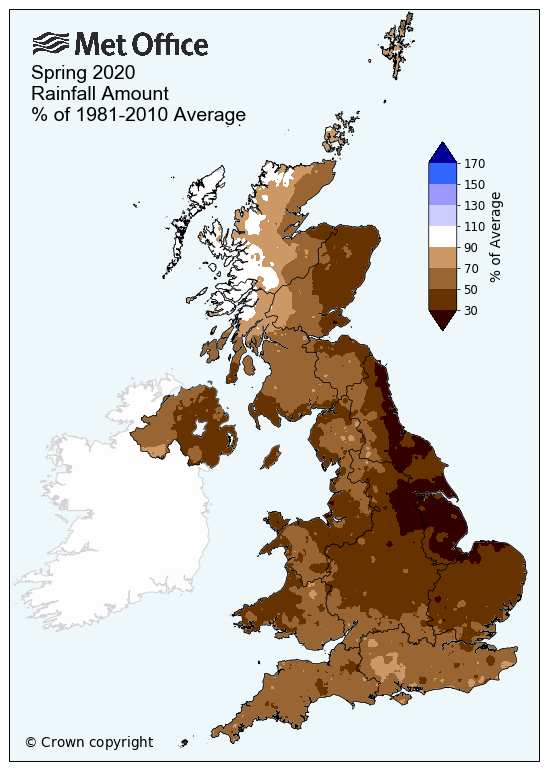 Spring 2020 rainfall anomaly | MetOffice